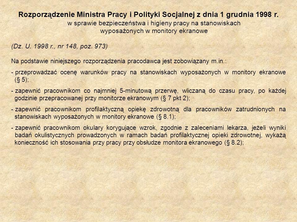 Rozporządzenie Ministra Pracy i Polityki Socjalnej z dnia 1 grudnia 1998 r. w sprawie bezpieczeństwa i higieny pracy na stanowiskach wyposażonych w monitory ekranowe