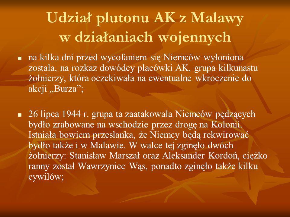 Udział plutonu AK z Malawy w działaniach wojennych