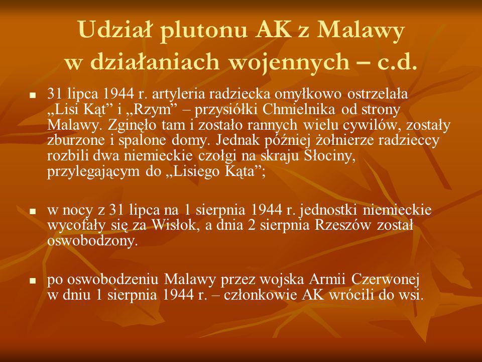 Udział plutonu AK z Malawy w działaniach wojennych – c.d.