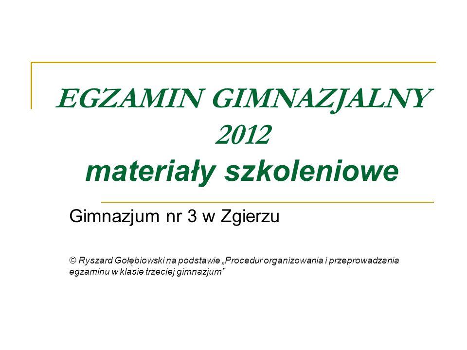 EGZAMIN GIMNAZJALNY 2012 materiały szkoleniowe