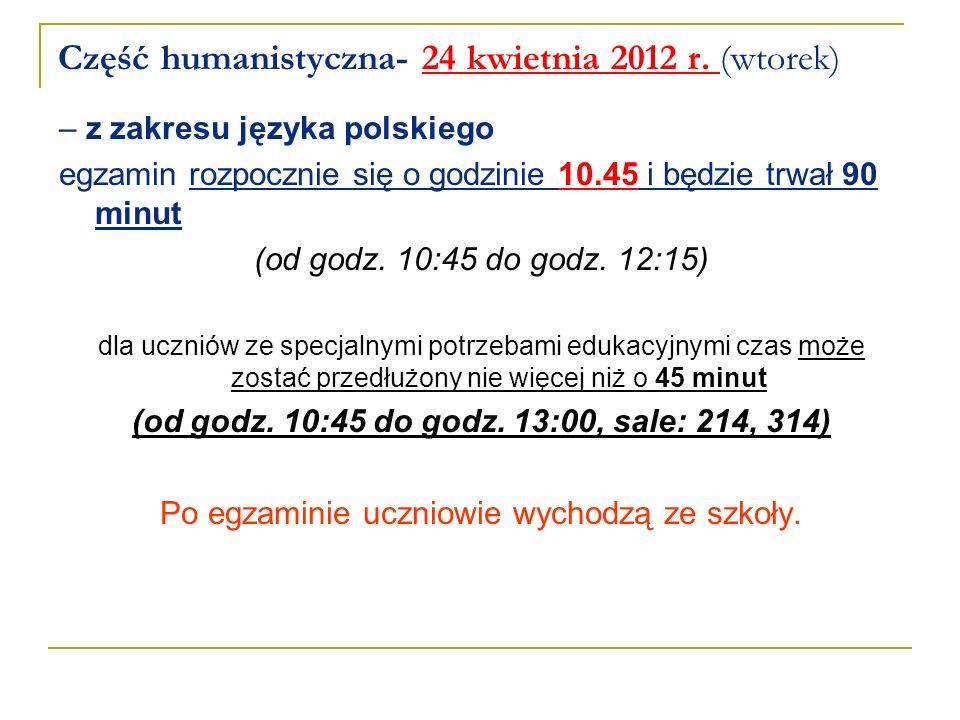 Część humanistyczna- 24 kwietnia 2012 r. (wtorek)