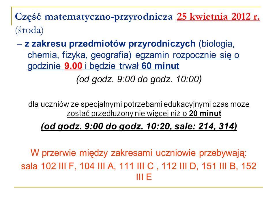 Część matematyczno-przyrodnicza 25 kwietnia 2012 r. (środa)