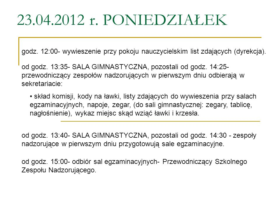 23.04.2012 r. PONIEDZIAŁEK godz. 12:00- wywieszenie przy pokoju nauczycielskim list zdających (dyrekcja).