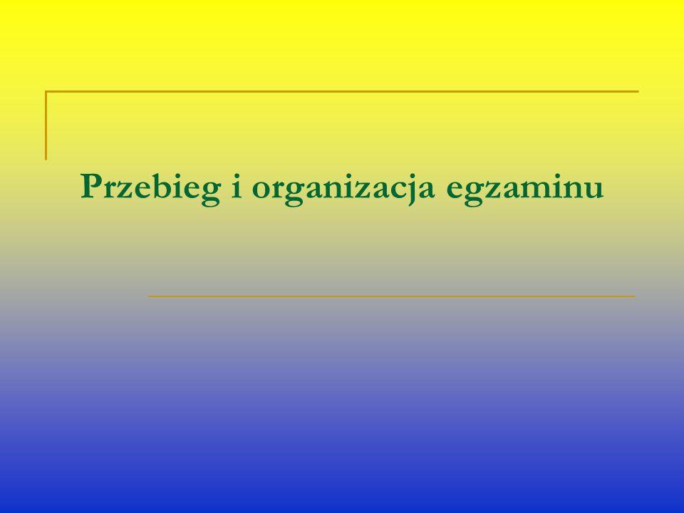 Przebieg i organizacja egzaminu