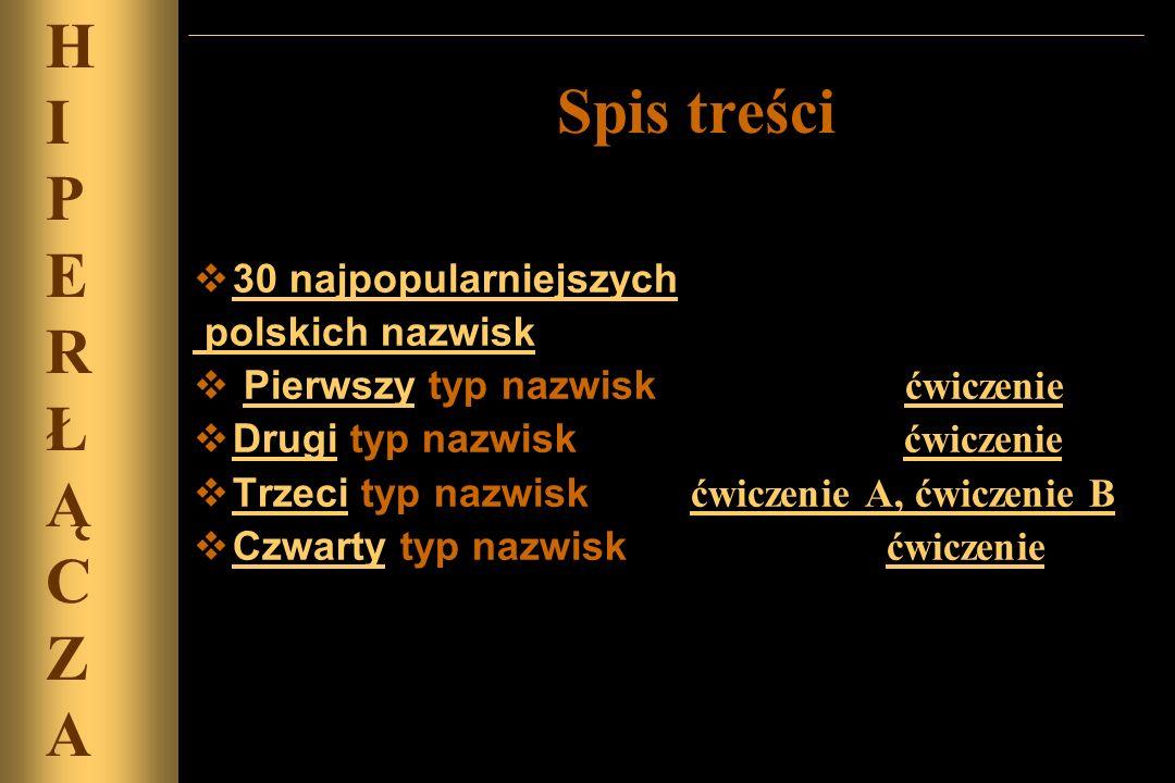 H I Spis treści P E R Ł Ą C Z A 30 najpopularniejszych