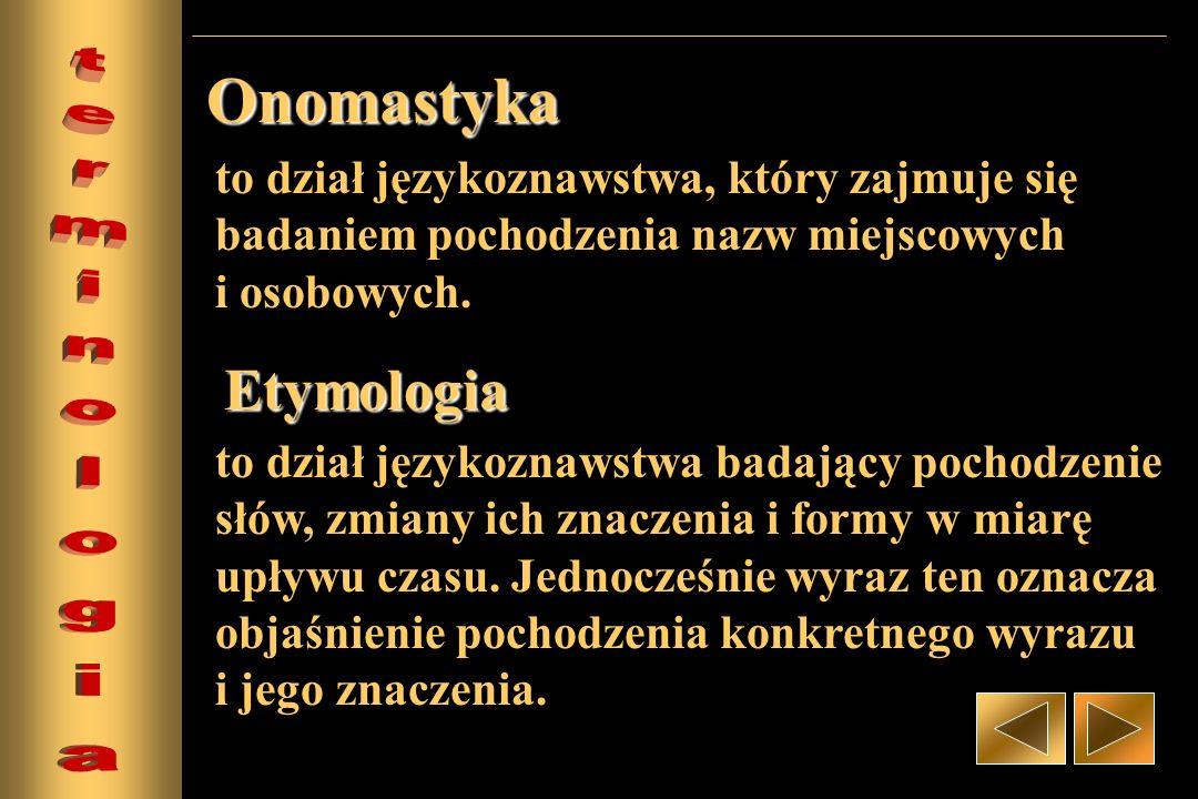 Onomastyka Etymologia terminologia