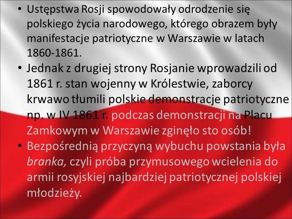 Ustępstwa Rosji spowodowały odrodzenie się polskiego życia narodowego, którego obrazem były manifestacje patriotyczne w Warszawie w latach 1860-1861.
