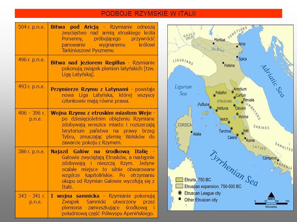 PODBOJE RZYMSKIE W ITALII