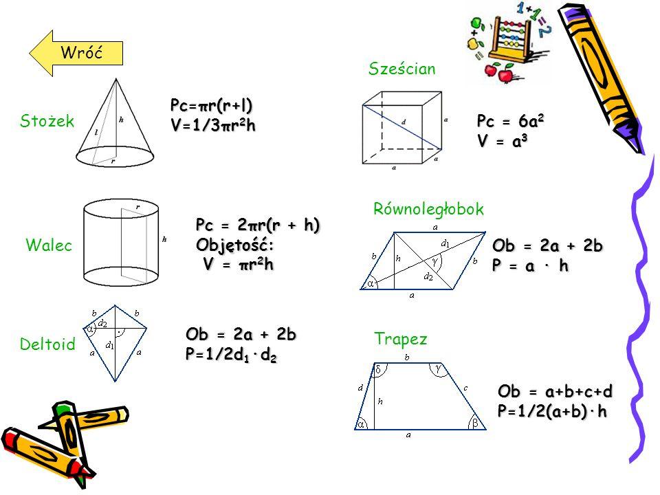 WróćPc = 6a2. V = a3. Sześcian. Pc=πr(r+l) V=1/3πr2h. Stożek. Pc = 2πr(r + h) Objętość: V = πr2h. Walec.