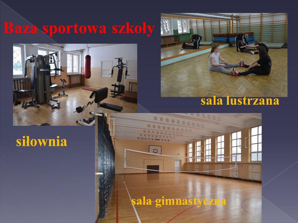 Baza sportowa szkoły sala lustrzana siłownia sala gimnastyczna