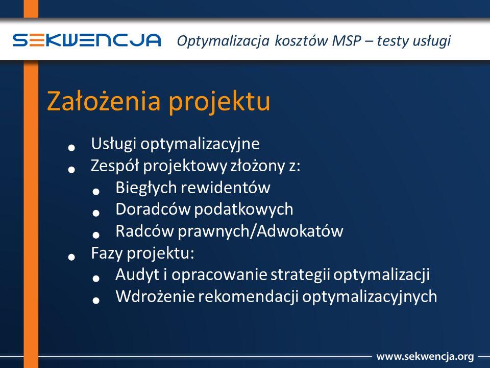 Założenia projektu Usługi optymalizacyjne Zespół projektowy złożony z: