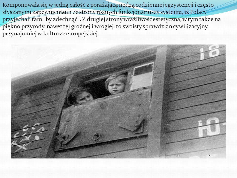 Komponowała się w jedną całość z porażającą nędzą codziennej egzystencji i często słyszanymi zapewnieniami ze strony różnych funkcjonariuszy systemu, iż Polacy przyjechali tam by zdechnąć .