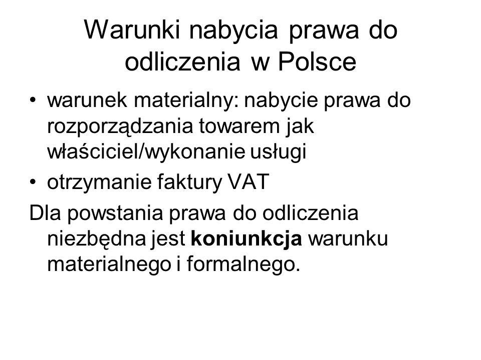 Warunki nabycia prawa do odliczenia w Polsce