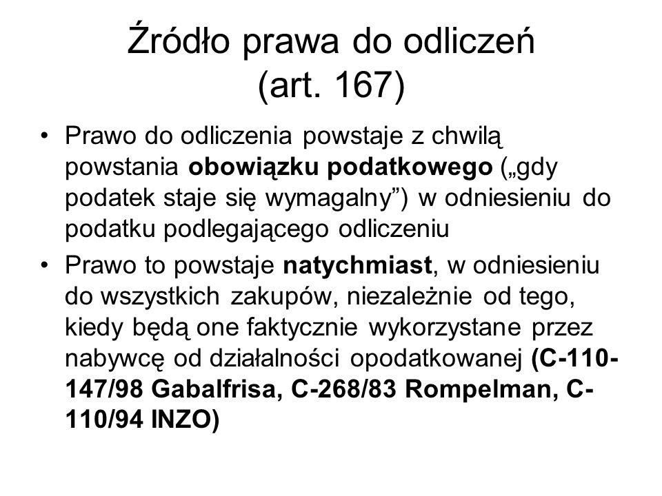 Źródło prawa do odliczeń (art. 167)