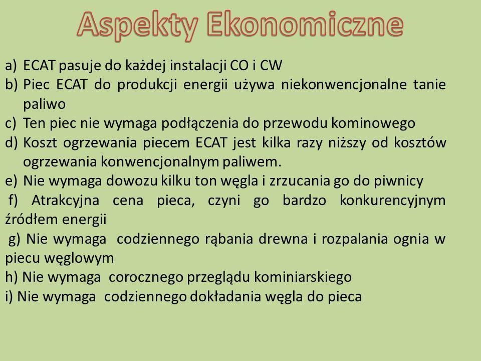Aspekty Ekonomiczne ECAT pasuje do każdej instalacji CO i CW