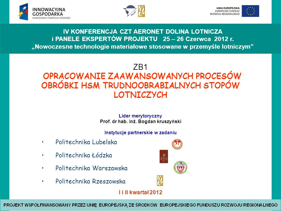 Prof. dr hab. inż. Bogdan kruszyński Instytucje partnerskie w zadaniu