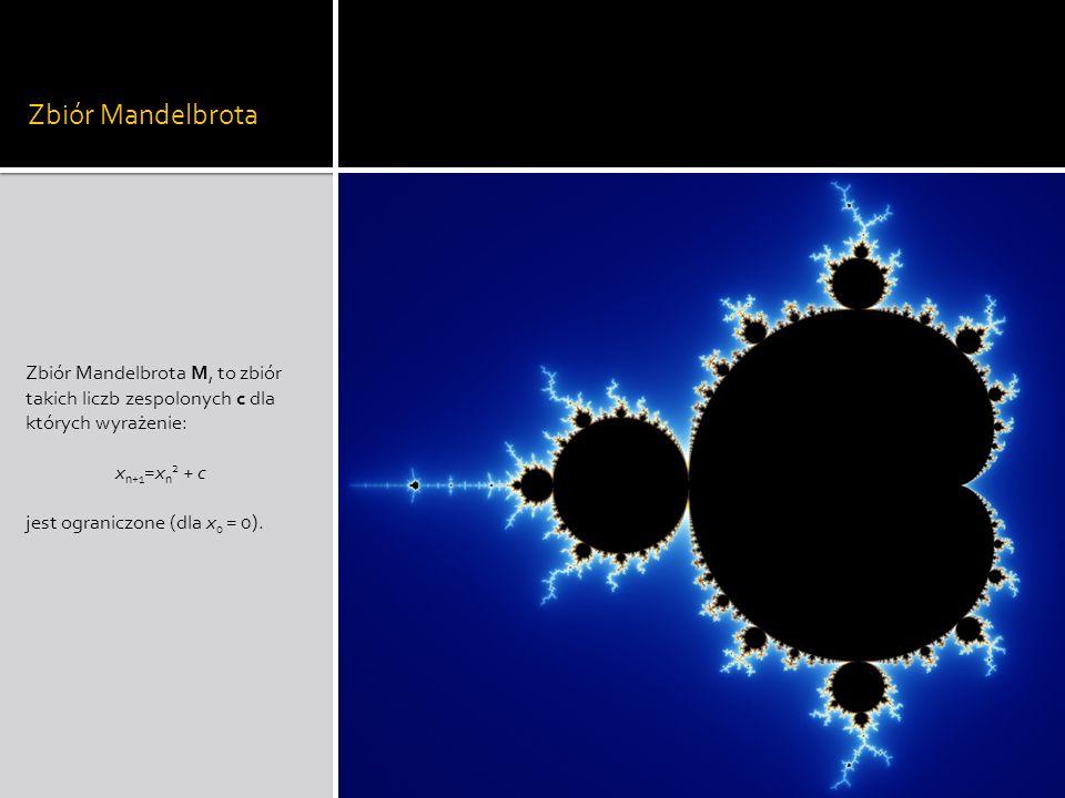 Zbiór Mandelbrota Zbiór Mandelbrota M, to zbiór takich liczb zespolonych c dla których wyrażenie: xn+1=xn2 + c.