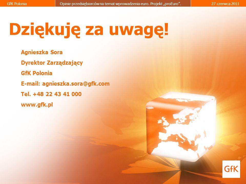Dziękuję za uwagę! Agnieszka Sora Dyrektor Zarządzający GfK Polonia