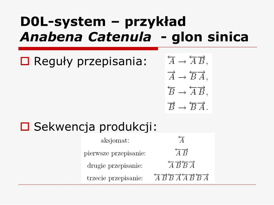 D0L-system – przykład Anabena Catenula - glon sinica