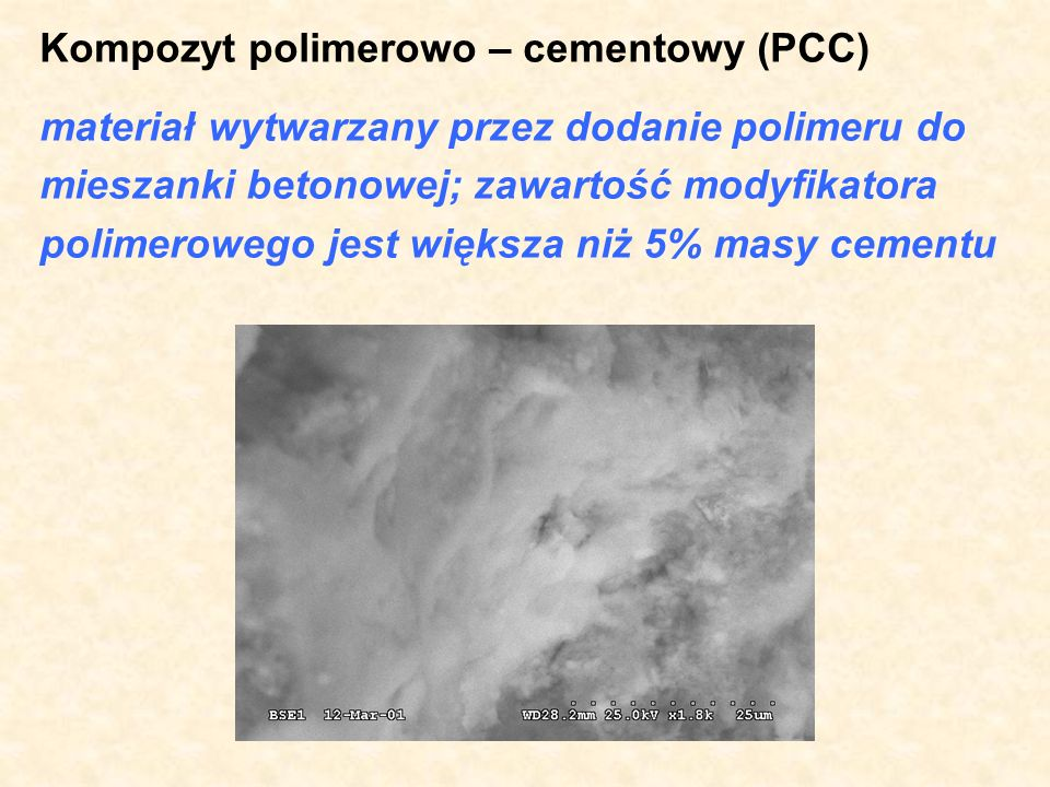 Kompozyt polimerowo – cementowy (PCC)