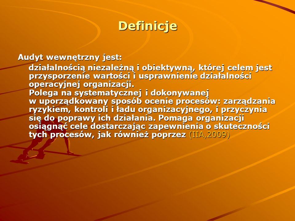 Definicje Audyt wewnętrzny jest: