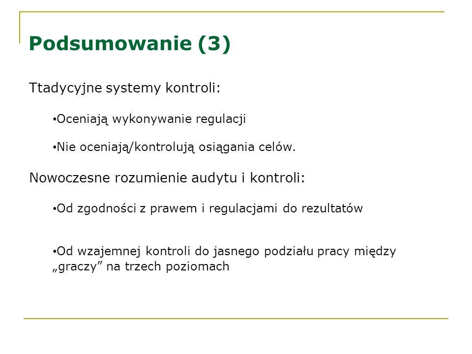 Podsumowanie (3) Ttadycyjne systemy kontroli: