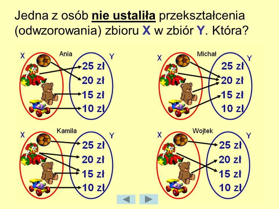 Jedna z osób nie ustaliła przekształcenia (odwzorowania) zbioru X w zbiór Y. Która