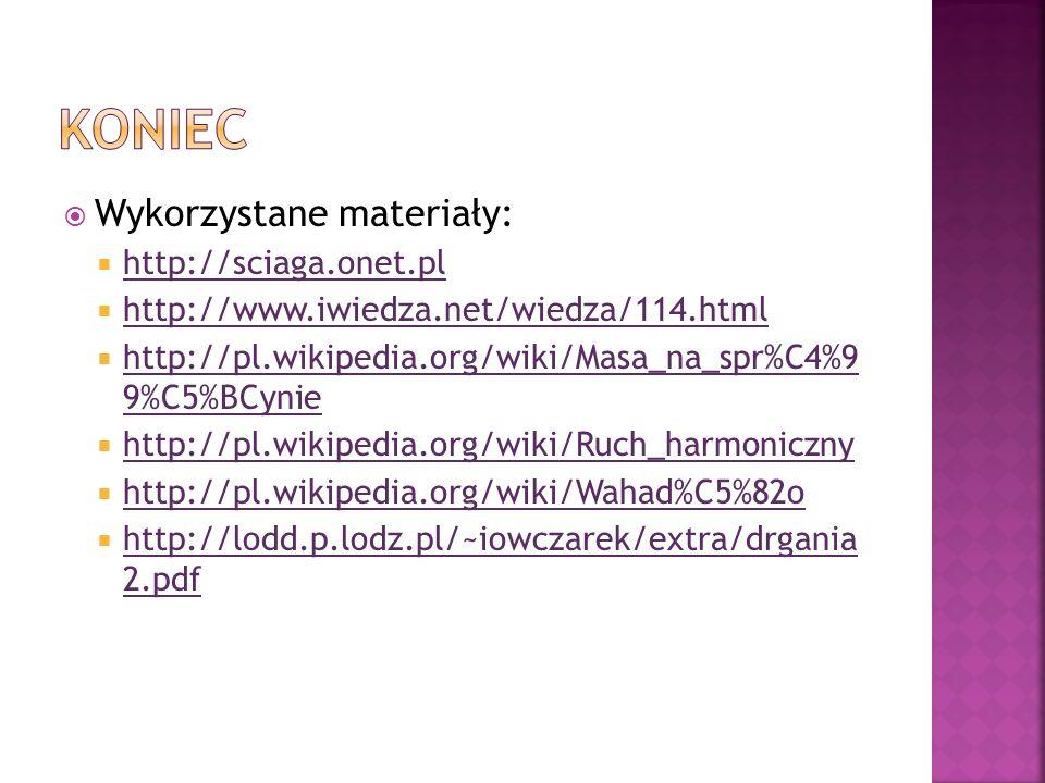 Koniec Wykorzystane materiały: http://sciaga.onet.pl