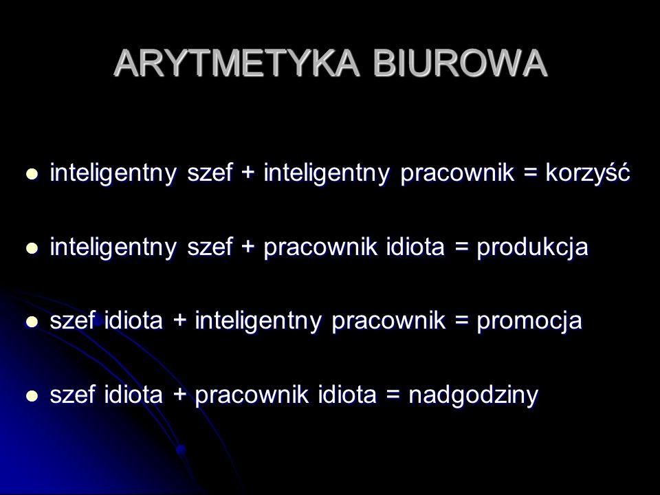 ARYTMETYKA BIUROWA inteligentny szef + inteligentny pracownik = korzyść. inteligentny szef + pracownik idiota = produkcja.