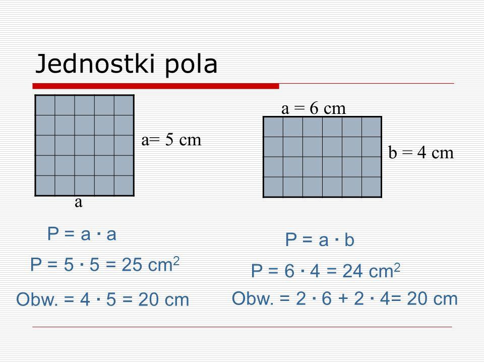 Jednostki pola a = 6 cm a= 5 cm b = 4 cm a P = a · a P = a · b