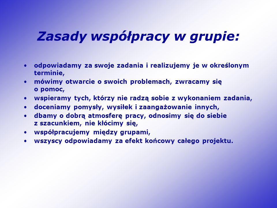 Zasady współpracy w grupie: