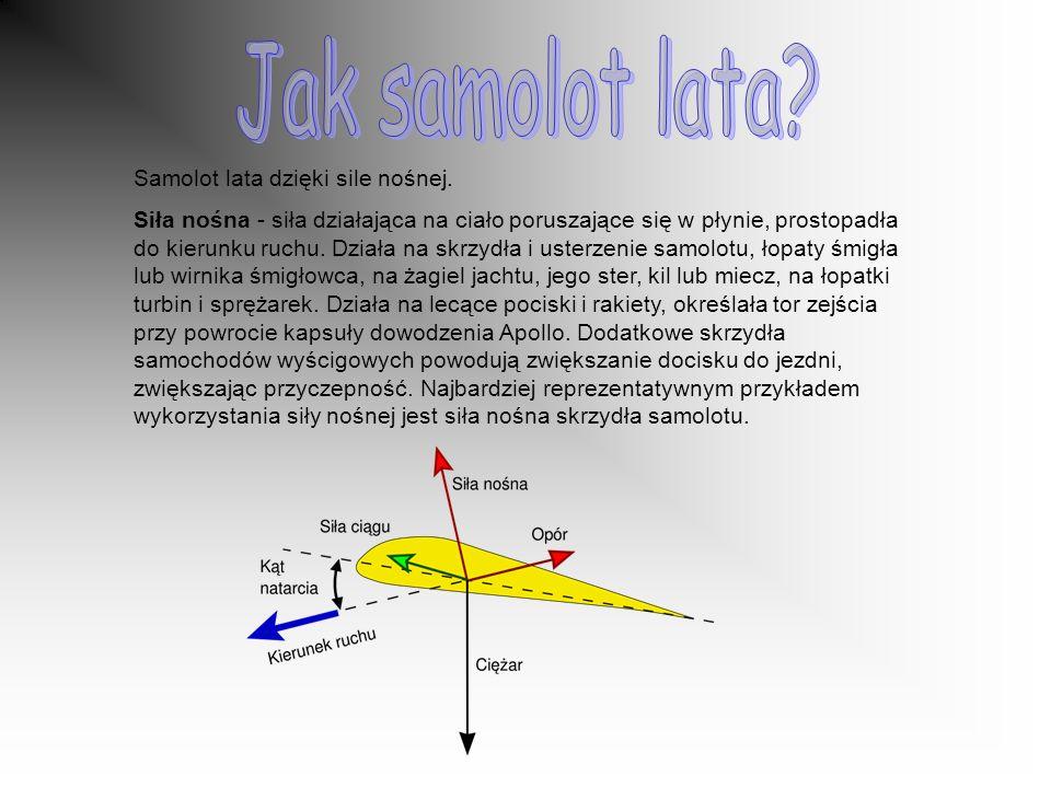 Jak samolot lata Samolot lata dzięki sile nośnej.