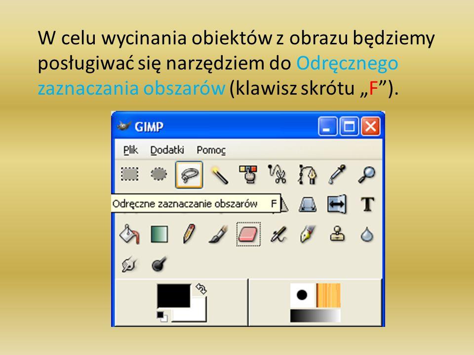 """W celu wycinania obiektów z obrazu będziemy posługiwać się narzędziem do Odręcznego zaznaczania obszarów (klawisz skrótu """"F )."""