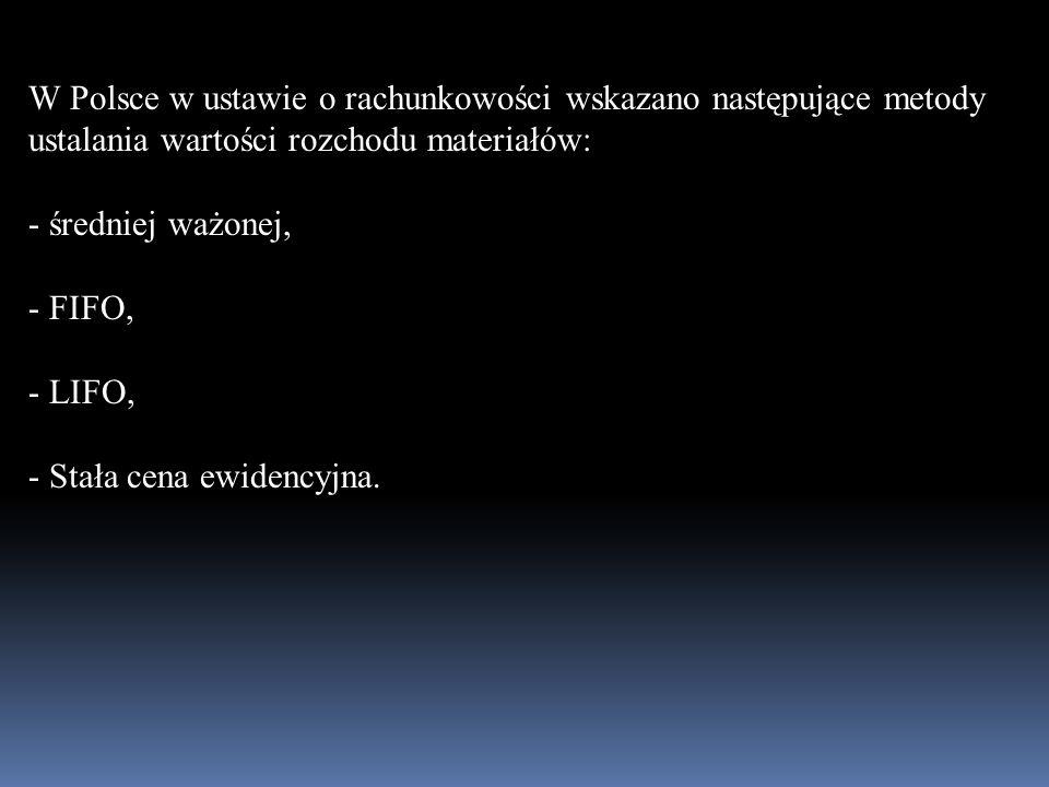 W Polsce w ustawie o rachunkowości wskazano następujące metody ustalania wartości rozchodu materiałów: