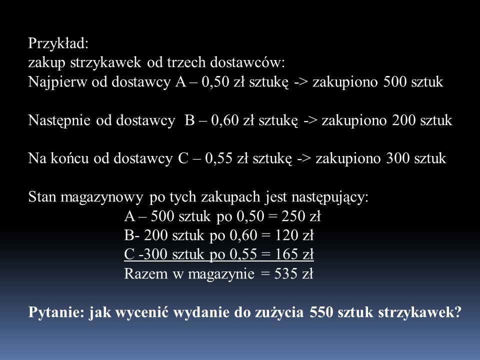 Przykład: zakup strzykawek od trzech dostawców: Najpierw od dostawcy A – 0,50 zł sztukę -> zakupiono 500 sztuk.