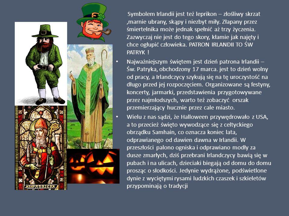 Symbolem Irlandii jest też leprikon – złośliwy skrzat ,marnie ubrany, skąpy i niezbyt miły. Złapany przez śmiertelnika może jednak spełnić aż trzy życzenia. Zazwyczaj nie jest do tego skory, kłamie jak najęty i chce ogłupić człowieka. PATRON IRLANDII TO ŚW PATRYK !