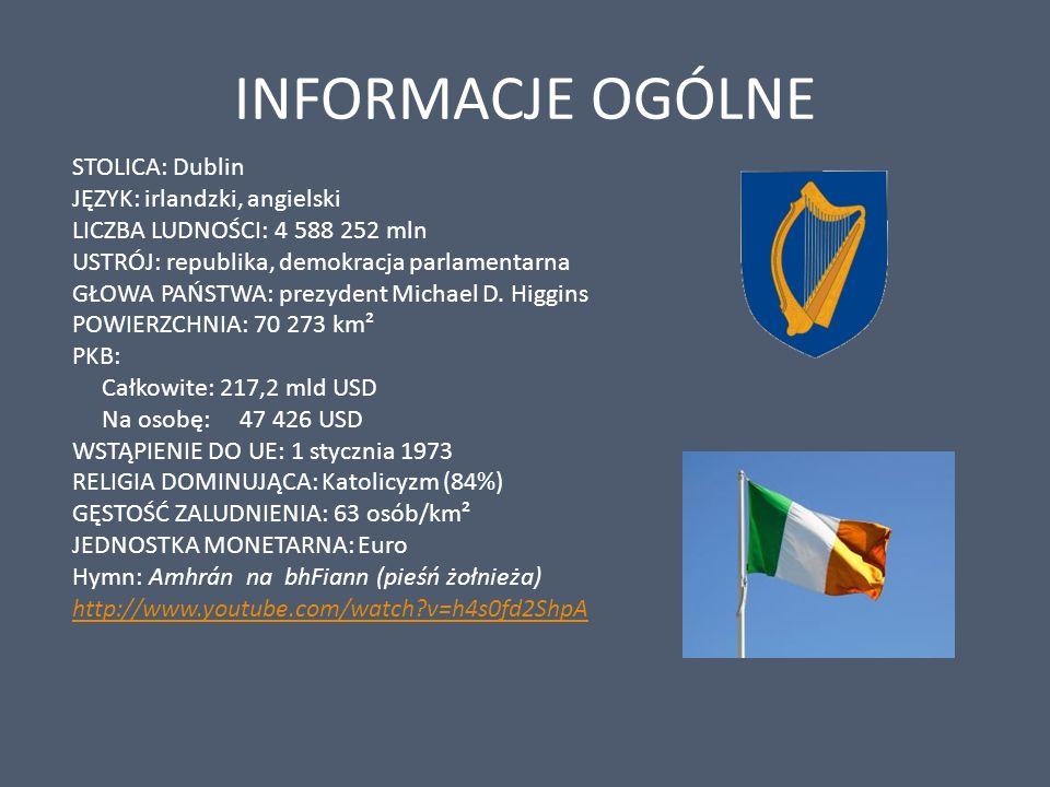 INFORMACJE OGÓLNE STOLICA: Dublin JĘZYK: irlandzki, angielski