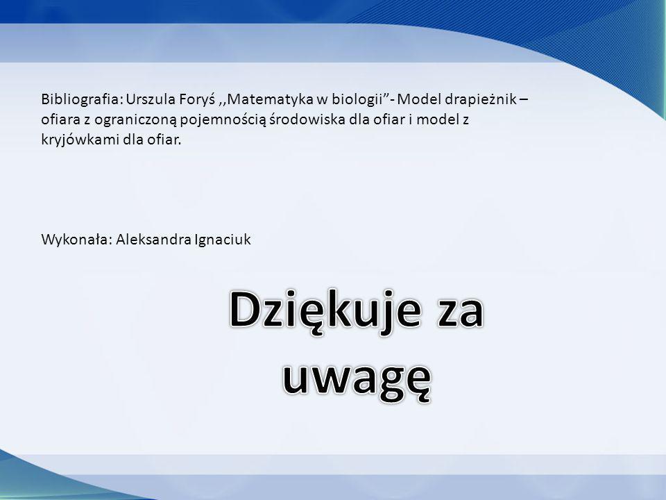 Bibliografia: Urszula Foryś ,,Matematyka w biologii - Model drapieżnik – ofiara z ograniczoną pojemnością środowiska dla ofiar i model z kryjówkami dla ofiar.