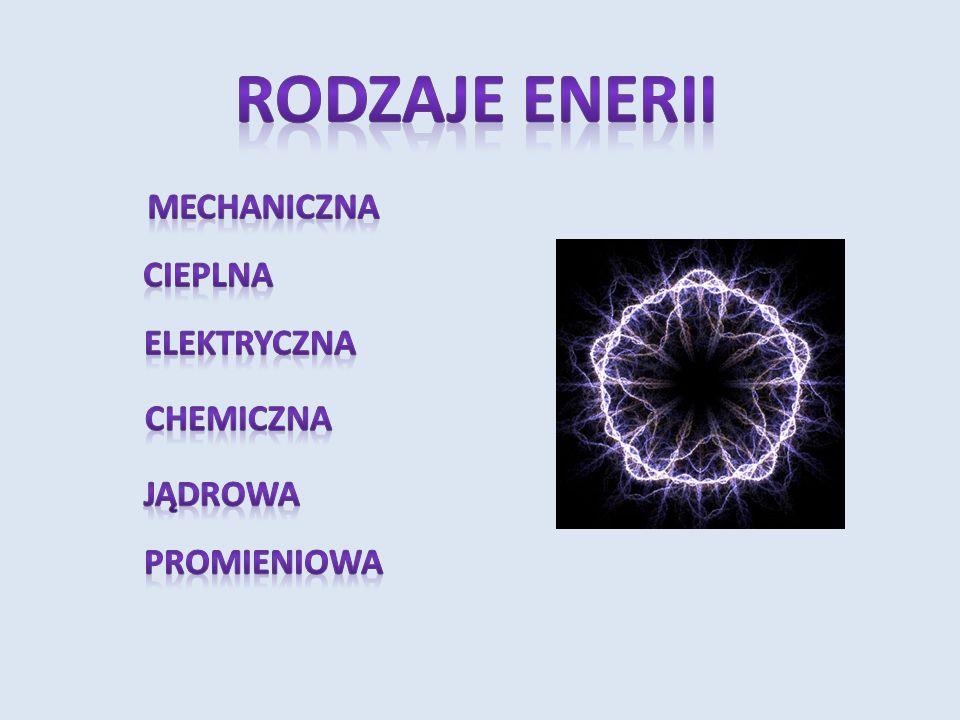 RODZAJE ENERII MECHANICZNA CIEPLNA ELEKTRYCZNA CHEMICZNA JĄDROWA