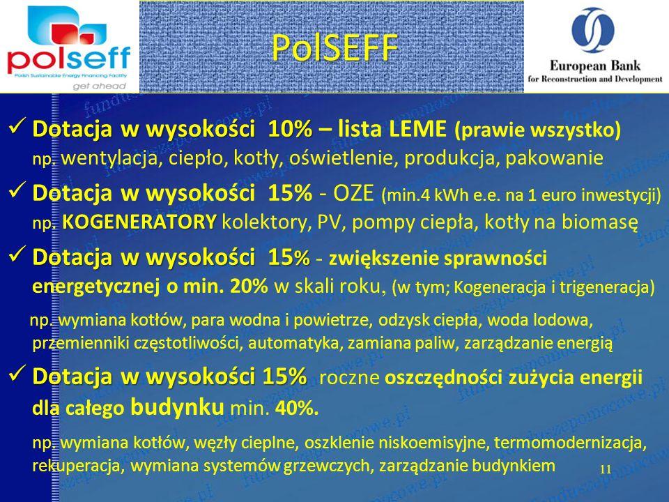PolSEFF Dotacja w wysokości 10% – lista LEME (prawie wszystko) np. wentylacja, ciepło, kotły, oświetlenie, produkcja, pakowanie.