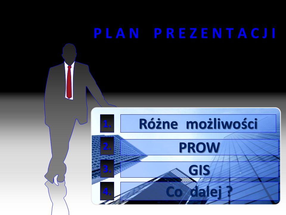 P L A N P R E Z E N T A C J I Różne możliwości PROW GIS Co dalej