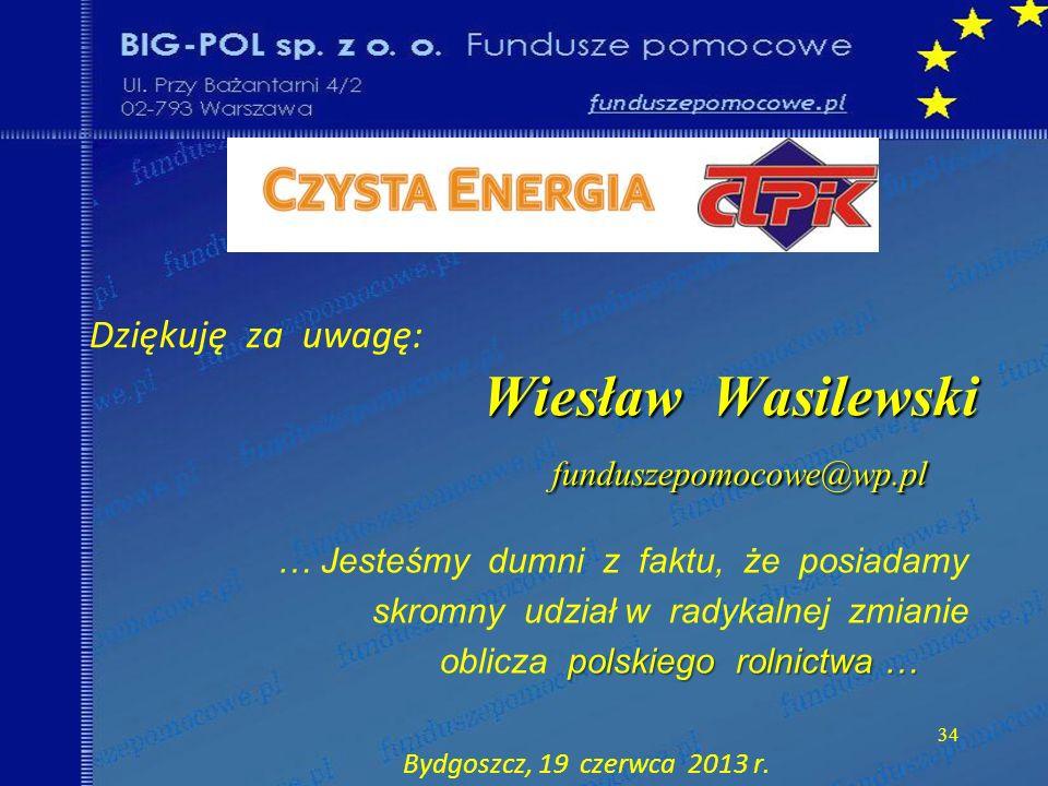 Dziękuję za uwagę: Wiesław Wasilewski funduszepomocowe@wp.pl