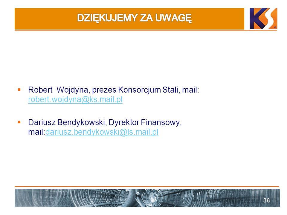 DZIĘKUJEMY ZA UWAGĘ Robert Wojdyna, prezes Konsorcjum Stali, mail: robert.wojdyna@ks.mail.pl.