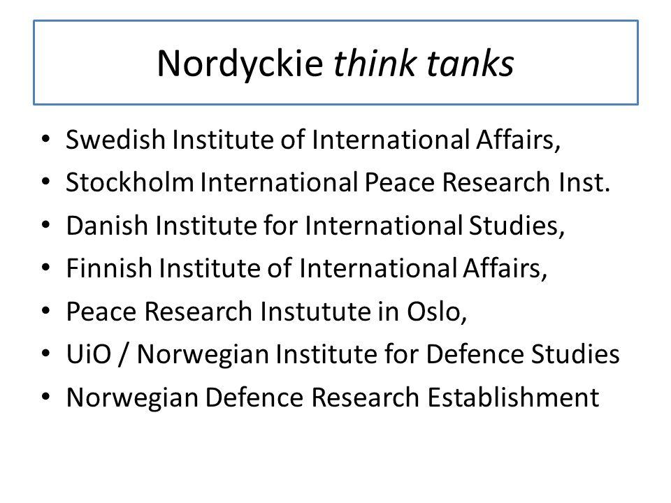 Nordyckie think tanks Swedish Institute of International Affairs,