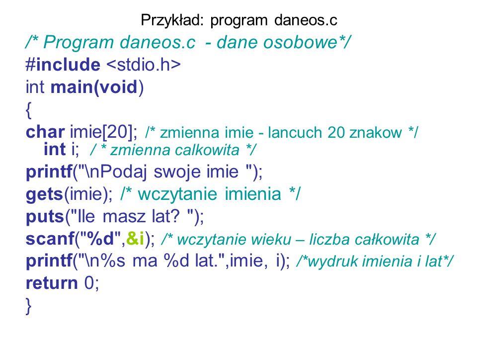 Przykład: program daneos.c