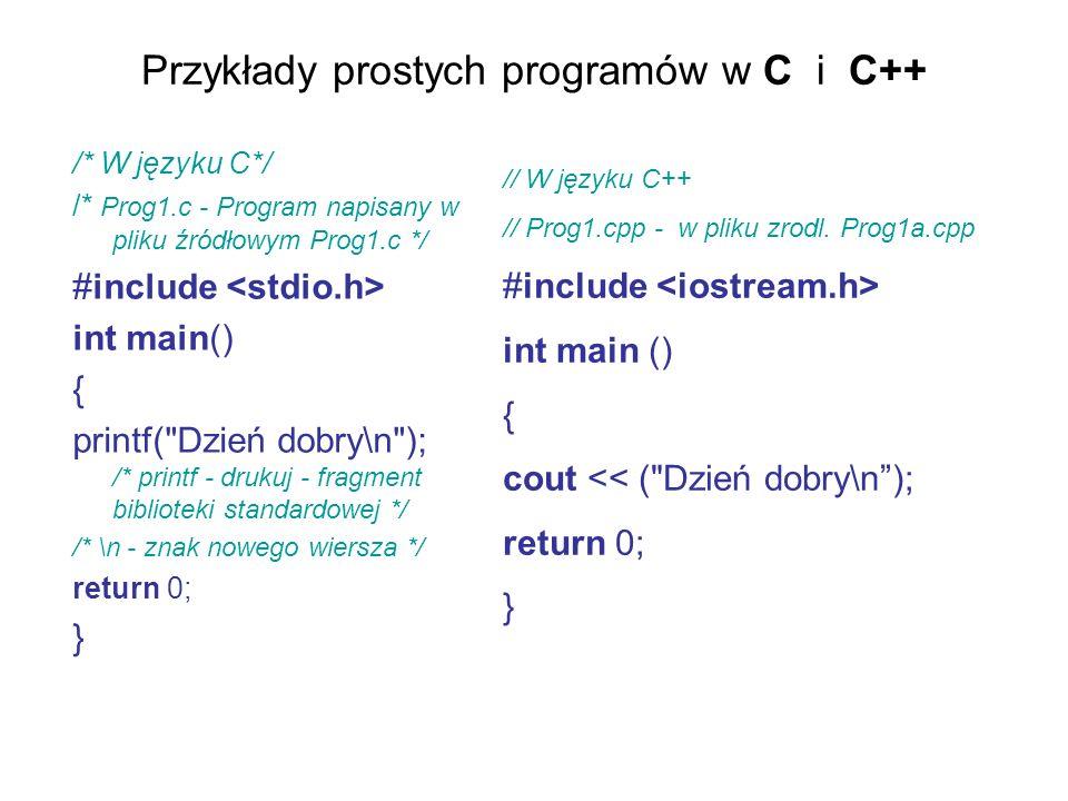 Przykłady prostych programów w C i C++