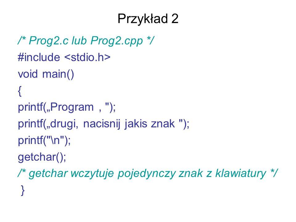Przykład 2 /* Prog2.c lub Prog2.cpp */ #include <stdio.h>