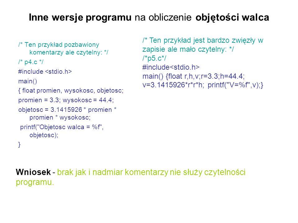 Inne wersje programu na obliczenie objętości walca