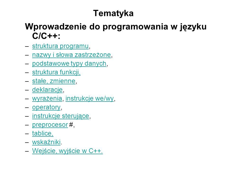Wprowadzenie do programowania w języku C/C++: