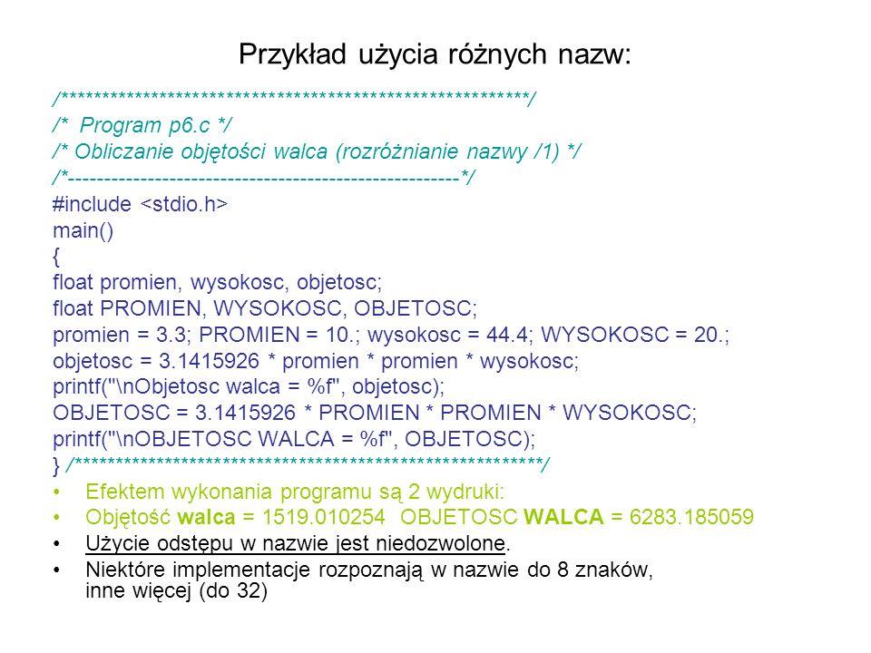 Przykład użycia różnych nazw: